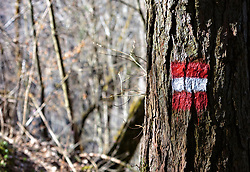 THEMENBILD - eine rot weiß rote Wegmarkierung auf einem Baumstamm, aufgenommen am 07. April 2018, Kaprun, Österreich // a red white red way marker on a tree trunk on 2018/04/07, Kaprun, Austria. EXPA Pictures © 2018, PhotoCredit: EXPA/ Stefanie Oberhauser