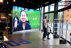 A tribute board to Vichai Srivaddhanaprabha at Leicester City Football Club. Leicester Chairman, Vichai Srivaddhanaprabha, was among those to have tragically lost their lives on Saturday evening when a helicopter carrying him and four other people crashed outside King Power Stadium.