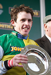 LIVERPOOL, ENGLAND, Saturday, April 9, 2011: Jason Maguire celebrates after winning the 2011 Grand National riding Ballabriggs during Day Three of the Aintree Grand National Festival at Aintree Racecourse. (Photo by David Tickle/Propaganda)