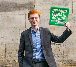 Hunter Square, Edinburgh, Scotland, United Kingdom, 28 November 2019. General Election: The Scottish Greens demand action about climate change as part of their general election campaign. Pictured:   Ross Greer, Scottiwsh Green MSP.<br /> Sally Anderson | EdinburghElitemedia.co.uk