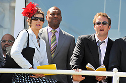 Left to right, FIONA HAWTHORNE, COLIN SALMON and RUPERT PENRY-JONES at the 3rd day of the 2009 Glorious Goodwood racing festival held at Goodwood Racecourse, West Sussex on 30th July 2009.