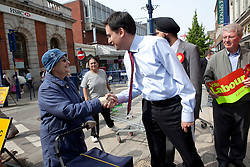 © licensed to London News Pictures. 06/05/2011. Gravesend, UK. 6th  Labour Leader Ed Miliband on a walkabout in Gravesend town centre  after Labour gained control of the Local Authority from the tories in the local elections held on 5thmay 2011. See special instructions for rates. Photo credit should read Andrew Baker/LNP