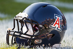 November 6, 2010; Stanford, CA, USA;  An Arizona Wildcats helmet on the field before the game against the Stanford Cardinal at Stanford Stadium.