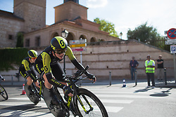 Sarah Roy (AUS) of Mitchelton Scott Cycling Team leans into the final corner on Stage 1 of the Madrid Challenge - a 12.6 km team time trial, starting and finishing in Boadille del Monte on September 15, 2018, in Madrid, Spain. (Photo by Balint Hamvas/Velofocus.com)