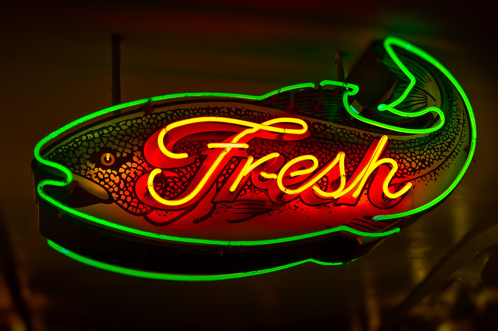 Neon sign at Seattle's Public Market.