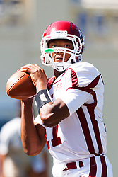 September 24, 2011; San Jose, CA, USA;  New Mexico State Aggies quarterback Travaughn Colwell (17) warms up before the game against the San Jose State Spartans at Spartan Stadium. San Jose State defeated New Mexico State 34-24.