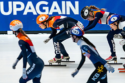 Netherlands with Suzanne Schulting and Lara van Ruijven in action on the 3000 meter relay during ISU World Cup Finals Shorttrack 2020 on February 14, 2020 in Optisport Sportboulevard Dordrecht.