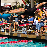 16 November 2017: The San Diego State women's swim team competes in the 2017 A3 Performance Invitational held at the SDSU Aquaplex. SDSU sophomore Peyton Wilson competes in the 50 yard freestyle.<br /> www.sdsuaztecphotos.com