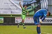 Forest Green Rovers Omar Bugiel(11) and celebrates his goal, 2-0 during the Vanarama National League match between Forest Green Rovers and Boreham Wood at the New Lawn, Forest Green, United Kingdom on 11 February 2017. Photo by Shane Healey.