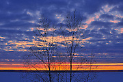 SUnset on Waskasiu Lake in winter<br /> Prince Albert National Park<br /> Saskatchewan<br /> Canada