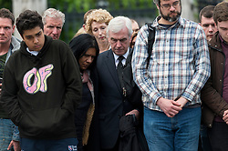 © Licensed to London News Pictures. 17/06/2016. Chancellor of the Exchequer JOHN MCDONNELL  joins well wishers and tributes in Parliament Square in memory of Labour party MP JO COX. She was allegedly attacked and killed by suspect 52 year old Tommy Mair close to Birstall Library near Leeds. London, UK. Photo credit: Ray Tang/LNP