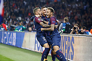 DANIEL ALVES DA SILVA (PSG) scored the first goal and celebrated it with Neymar da Silva Santos Junior - Neymar Jr (PSG) and Marco Verratti (psg) during the UEFA Champions League, Group B football match between Paris Saint-Germain and Bayern Munich on September 27, 2017 at Parc des Princes stadium in Paris, France - Photo Stephane Allaman / ProSportsImages / DPPI