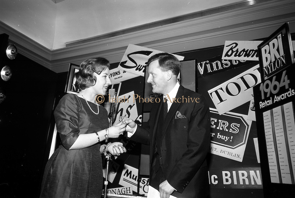 23/11/1964<br /> 11/12/1964<br /> 23 November 1964<br /> <br /> 19 Sales Girls from various parts of Ireland, at a Presentation in the Royal Hibernian Hotel <br /> <br /> Miss Anne Markey, Switzers, Dublin. WInner of the Bri Nylon Gold Award