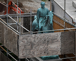 August 17, 2017 - Lexington, Kentucky, U.S. - A monument to Confederate General John Hunt Morgan stands encased in a protective scaffolding because of local construction, stands outside the Historic Lexington Courthouse.  Lexington Mayor Jim Gray has recently announced his intention to have this, and other monuments to American Civil War confederate soldiers, removed from courthouse property. (Credit Image: © Bryan Woolston via ZUMA Wire)