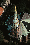 Aerial of vor Freslers Kirke. Copenhagen, Denmark.