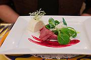 Parkhotel Tristacher See, Tyrol, Austria. Dinner at the restaurant.<br /> Gepökelte Rindszunge mit Krenmousse und Vogerlsalat.