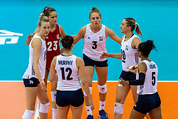 14-10-2018 JPN: World Championship Volleyball Women day 15, Nagoya<br /> China - United States of America 3-2 / Kimberly Hill #15 of USA, Kelsey Robinson #23 of USA, Carli Lloyd #3 of USA, Jordan Larson #10 of USA