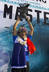 December 18, 2017 - Banzai Pipeline, HI, USA - BANZAI PIPELINE, HI - DECEMBER 18, 2017 - Jeremy Flores of France holds up the trophy after winning the Billabong Pipe Masters. (Credit Image: © Erich Schlegel via ZUMA Wire)