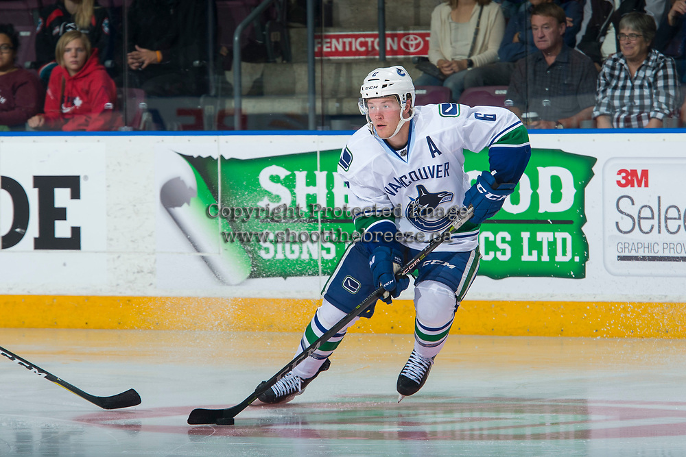 PENTICTON, CANADA - SEPTEMBER 8: Brock Boeser #6 of Vancouver Canucks skates with the puck against the Winnipeg Jets on September 8, 2017 at the South Okanagan Event Centre in Penticton, British Columbia, Canada.  (Photo by Marissa Baecker/Shoot the Breeze)  *** Local Caption ***