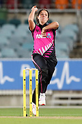 Kate Ebrahim bowling. Women's T20 international Cricket, Australia v New Zealand White Ferns.  Manuka Oval, Canberra, 5 October 2018. Copyright Image: David Neilson / www.photosport.nz