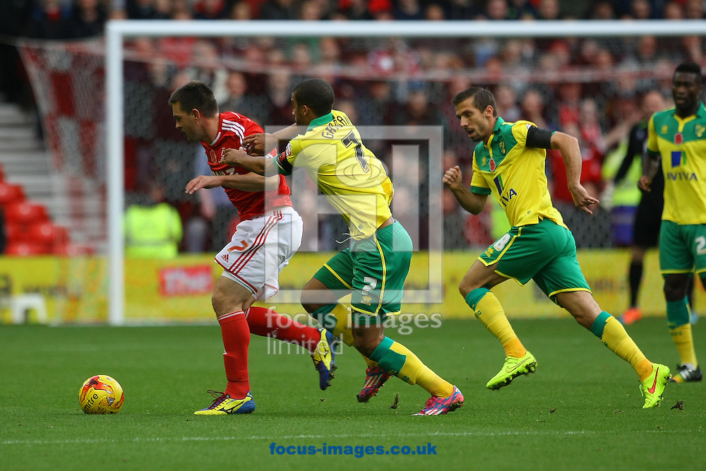 Matthew Fryatt of Nottingham Forest and Lewis Grabban of Norwich in action during the Sky Bet Championship match at the City Ground, Nottingham<br /> Picture by Paul Chesterton/Focus Images Ltd +44 7904 640267<br /> 08/11/2014