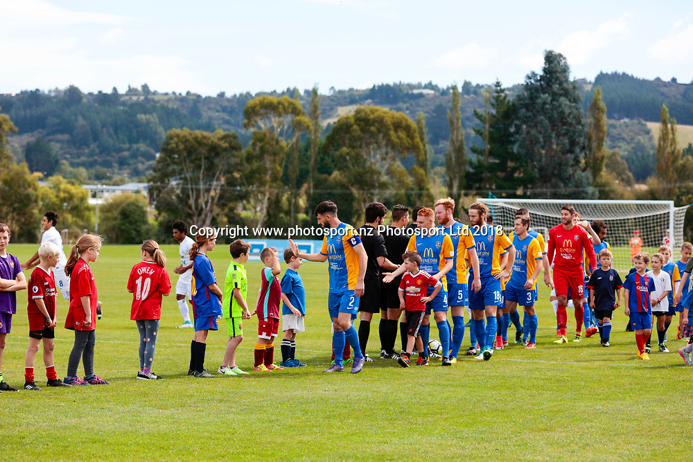 Southern United players shake hands with the next generation ahead of the Southern United vs Hamilton, ISPS Handa Premiership football match held at Sunnyvale Park, Dunedin, New Zealand. 10 March 2018. Copyright Image: Derek Morrison / www.photosport.nz