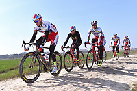 KRISTOFF Alexander (NOR)/ SMUKULIS Gatis (LAT)/ HALLER Marco (AUT)/ PAOLINI Luca (ITA)/ PORSEV Alexander (RUS)/ Team Katusha (Rus)  during training on april 9 prior to the famous cycling race Paris Roubaix with paving stones paths which will take place on april 12, 2015 - Photo Tim de Waele / DPPI