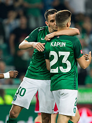 Branko Ilic of NK Olimpija kissing Nik Kapun of NK Olimpija Ljubljana after scoring third goal during football match between NK Aluminij and NK Olimpija Ljubljana in the Final of Slovenian Football Cup 2017/18, on May 30, 2018 in SRC Stozice, Ljubljana, Slovenia. Photo by Vid Ponikvar / Sportida