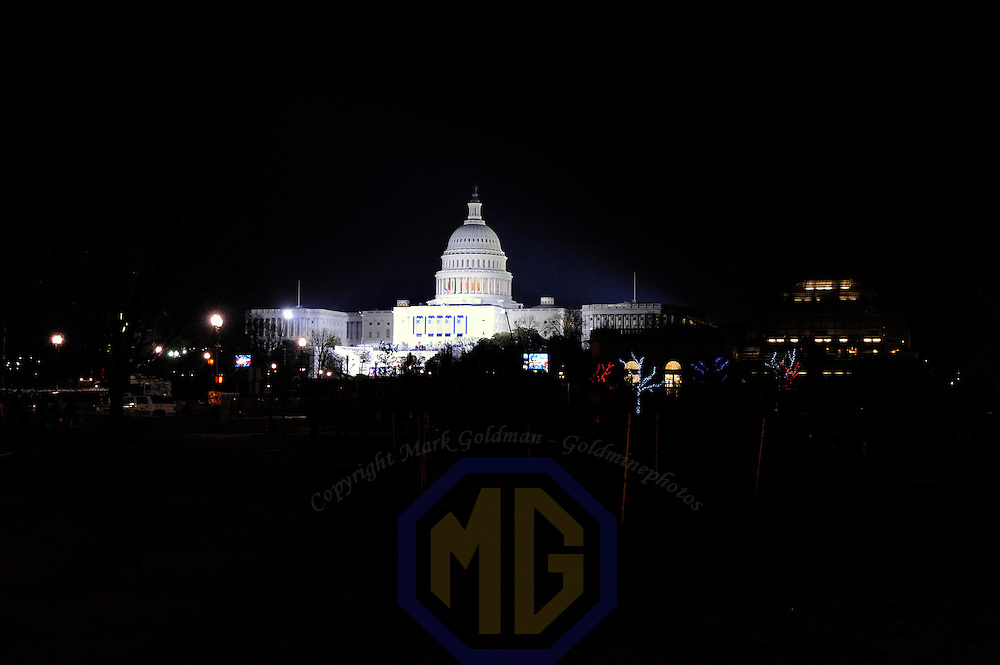 The U.S. Capital is prepared and illuminated in the early morning hours for the swearing in of Barack Obama as the 44th President of the United States of America during his Inauguration Ceremony on Capitol Hill in Washington on January 20, 2009.    (Mark Goldman/ Goldmine Photos)
