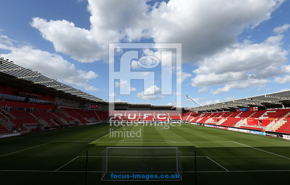 A general view of the  New York Stadium prior to the UEFA Euro U17 Championship match at the New York Stadium, Rotherham<br /> Picture by Simon Moore/Focus Images Ltd 07807 671782<br /> 10/05/2018