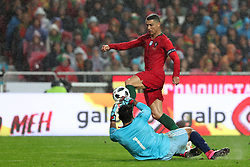 June 7, 2018 - Lisbon, Portugal - Portugal's forward Cristiano Ronaldo vies with Algerias goalkeeper Abdelkader Salhi during the FIFA World Cup Russia 2018 preparation football match Portugal vs Algeria, at the Luz stadium in Lisbon, Portugal, on June 7, 2018. (Portugal won 3-0) (Credit Image: © Pedro Fiuza/NurPhoto via ZUMA Press)