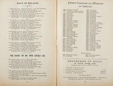 All Ireland Senior Hurling Championship Final,.Programme,.05.09.1954, 09.05.1954, 5th September 1954,.Cork 1-9, Wexford 1-6,.Minor Dublin v Tipperary, .Senior Cork v Wexford,.Croke Park,..Songs, Kelly of Killane, The Banks of My Own Lovely Lee, ..Articles, Foirne Ceannair Na hEireann in Lomaint, Programme of Music,