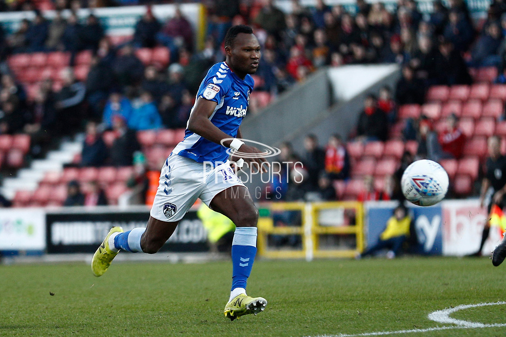 Desire Segbe Azankpo (19) of Oldham Athletic during the EFL Sky Bet League 2 match between Swindon Town and Oldham Athletic at the County Ground, Swindon, England on 14 December 2019.
