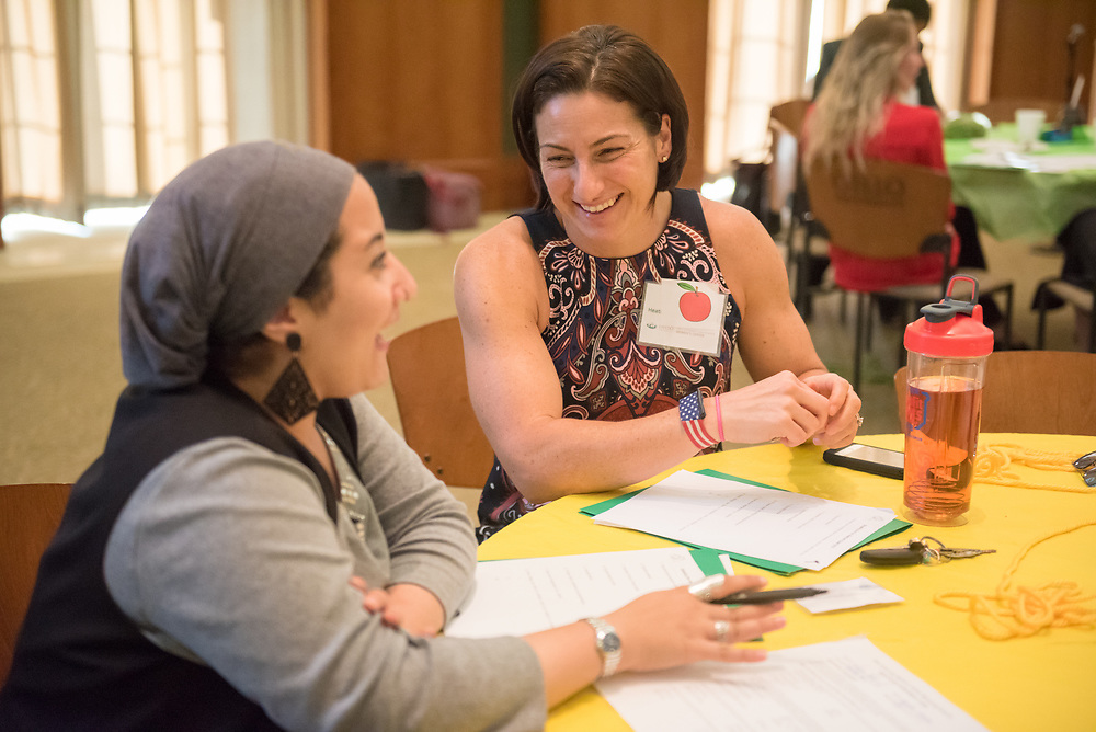 Heather Lawrence-Benedict talks with her mentee during the Women's Mentoring Meet and Greet event on Sept. 4, 2018 in Walter Rotunda. Photo by Hannah Ruhoff