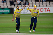 Shahid Afridi and Jimmy Adams of Hampshire during the NatWest T20 Blast South Group match between Hampshire County Cricket Club and Somerset County Cricket Club at the Ageas Bowl, Southampton, United Kingdom on 29 July 2016. Photo by David Vokes.