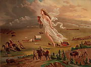 American progress.  Allegorical female figure of America leading pioneers and railroads westward, by George A. Crofutt. After 1872 painting of the same title by John Gast.