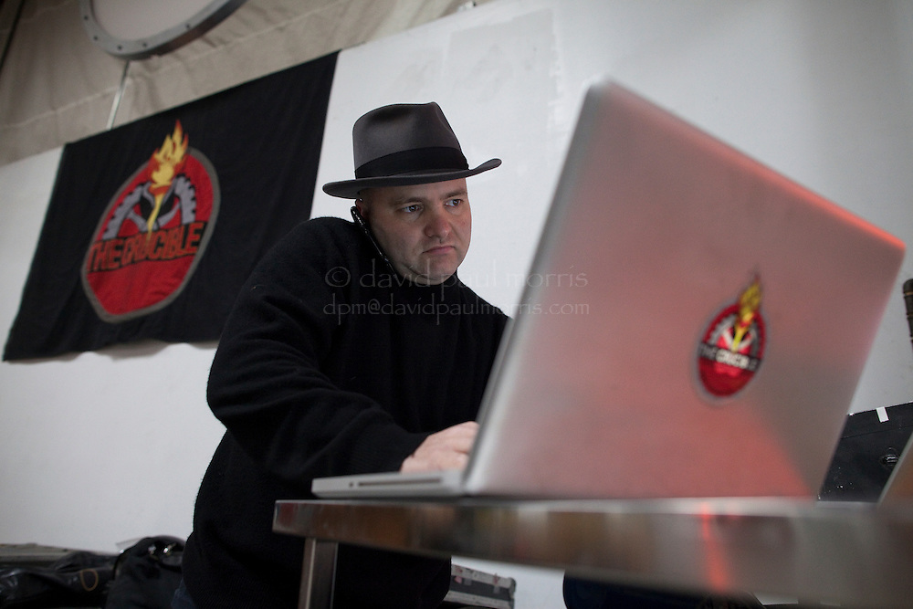 Michael Sturtz, founder of the Crucible fire arts performing arts center works on his computer at the The Crucible on January 7, 2011 in Oakland, Calif.  Photograph by David Paul Morris