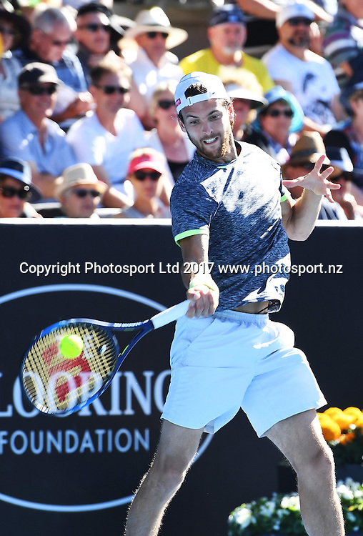 Portuguese tennis player Joao Sousa during his semi final singles match at the ASB Classic. ATP Mens Tennis Tournament. ASB Tennis Centre, Auckland, New Zealand. Friday 13 January 2017. © Copyright photo: Andrew Cornaga / www.photosport.nz