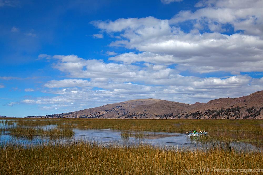 South America, Peru, Lake Titicaca. Scenery of Lake Titicaca near Puno.