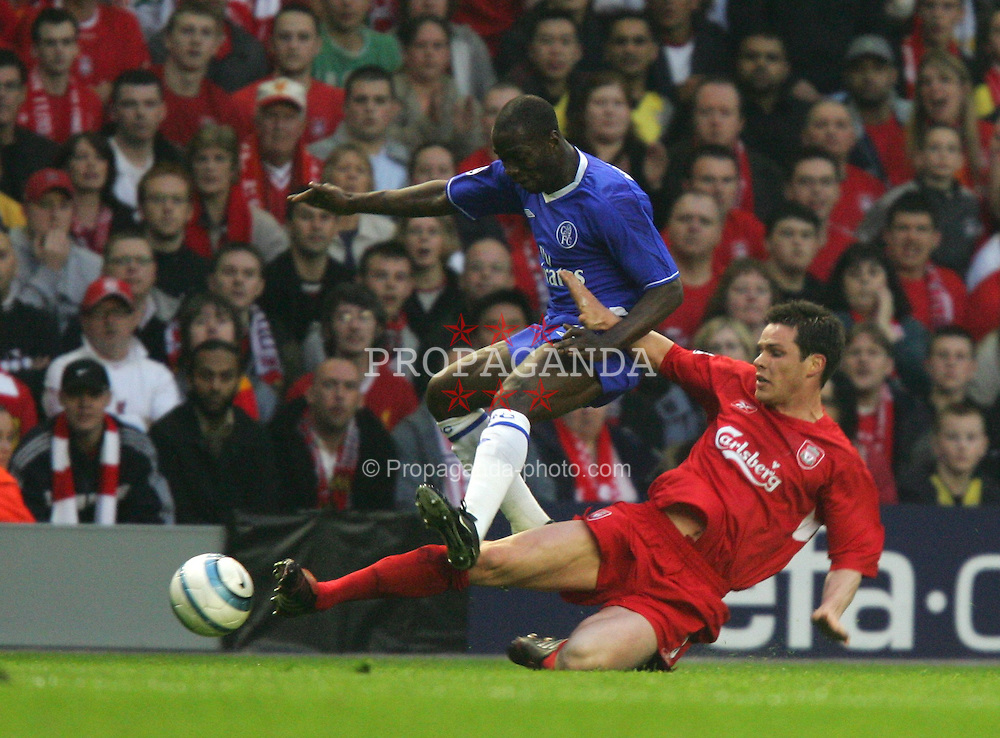 LIVERPOOL, ENGLAND. TUESDAY, MAY 3rd, 2005: Liverpool's Steve Finnan and Chelsea's William Gallas during the UEFA Champions League Semi Final 2nd Leg at Anfield. (Pic by David Rawcliffe/Propaganda)