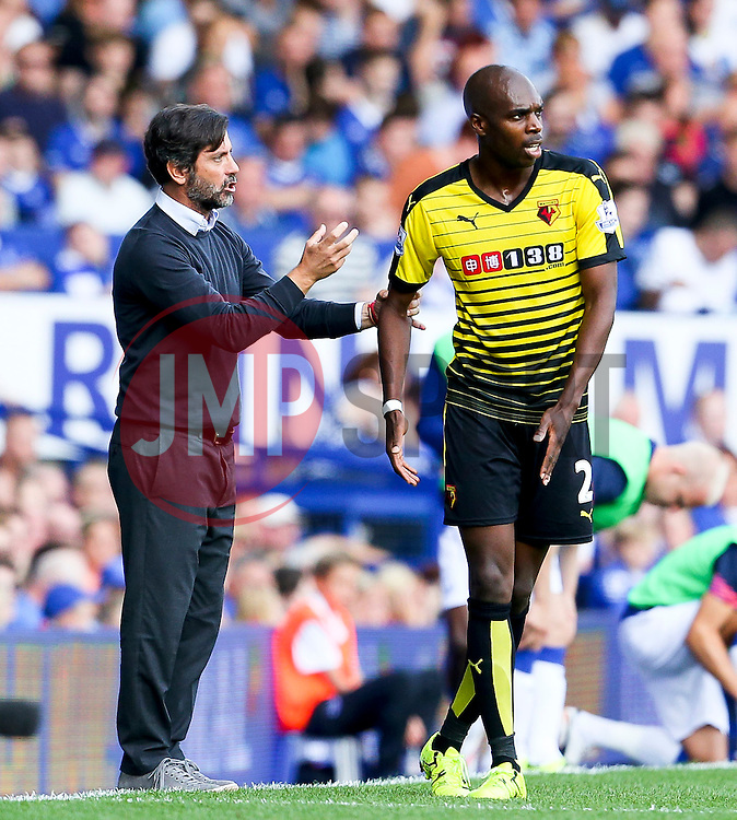 Watford Manager, Quique Flores gives instructions to Allan-Romeo Nyom - Mandatory byline: Matt McNulty/JMP - 07966386802 - 08/08/2015 - FOOTBALL - Goodison Park -Liverpool,England - Everton v Watford - Barclays Premier League