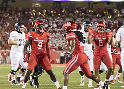September 16, 2017 - Houston, TX, USA - Houston Cougars linebacker Matthew Adams (9) celebrates a defensive play during the first quarter of the college football game between the Houston Cougars and the Rice Owls at TDECU Stadium in Houston, Texas. (Credit Image: © Scott W. Coleman via ZUMA Wire)