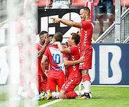 16-08-2017: Voetbal: FC Utrecht v Zenit Sint Petersburg: Utrecht<br /> <br /> (L-R) FC Utrecht speler Zakaria Labyad heeft gescoord (1-0) tijdens duel in voorronde Europa League tussen FC Utrecht en FK Zenit St Petersburg op 16 augustus in stadion Galgenwaard in Utrecht<br /> <br /> Voorronde Europa League (UEFA) - Seizoen 2017 / 2018<br /> <br /> Foto: Gertjan Kooij