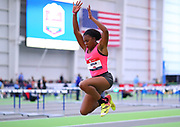 Viershanie Latham competes in the triple jump  during the USA Indoor Track and Field Championships in Staten Island, NY, Sunday, Feb 24, 2019. (Rich Graessle/Image of Sport)