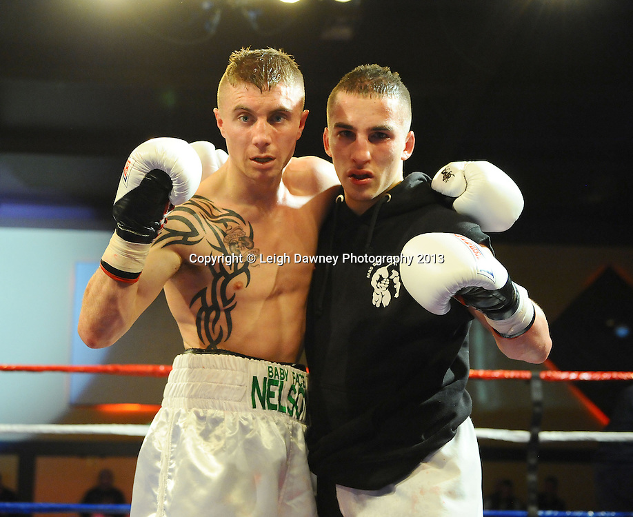 Anthony Nelson (white shorts) defeats Francis Croes in a 4x3 Bantamweight contest at Rainton Meadows Arena, Houghton Le Spring, Tyne & Wear, UK. 15th February 2013. Frank Maloney Promotions. © Leigh Dawney 2013