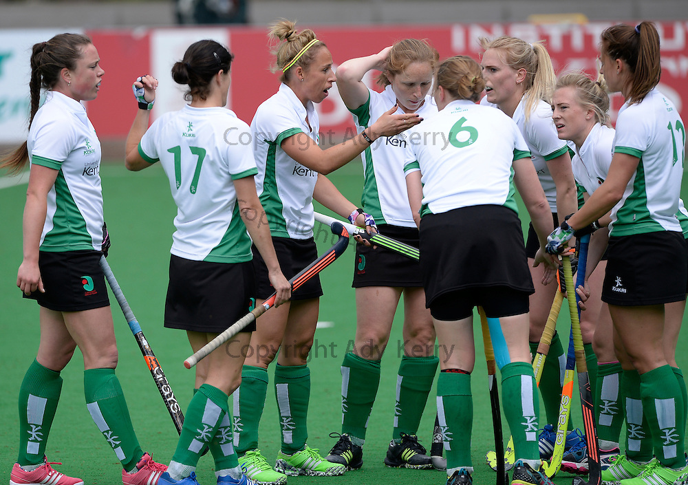 Canterbury vs Pegasus at SCHC, Bilthoven, Utrecht, Netherlands,15th May 2016.<br />Canterbury&rsquo;s Penalty corner discussion against Pegasus.
