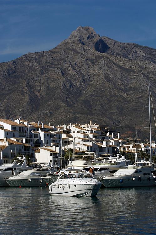 Marina and boat at Puerto Banus, Marbella, Costa del Sol, Spain