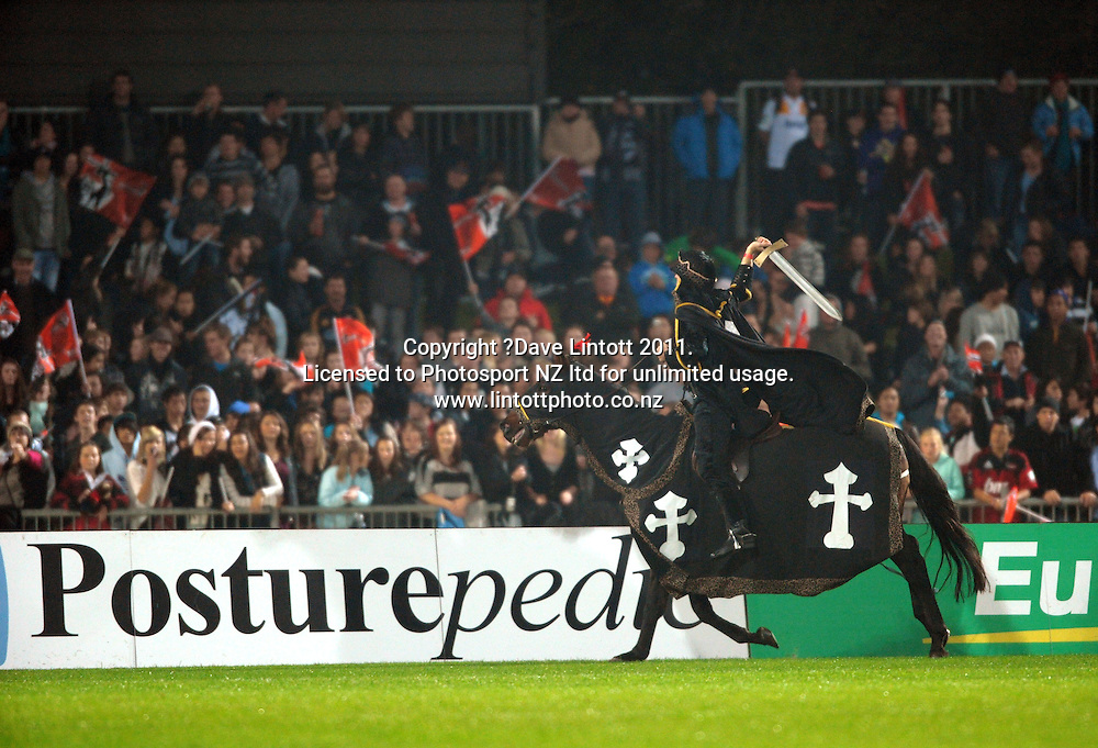 A Black Knight entertains the crowd. Super 15 rugby union match - Crusaders v Chiefs at McLean Park, Napier, New Zealand on Saturday, 21 May 2011. Photo: Dave Lintott / photosport.co.nz