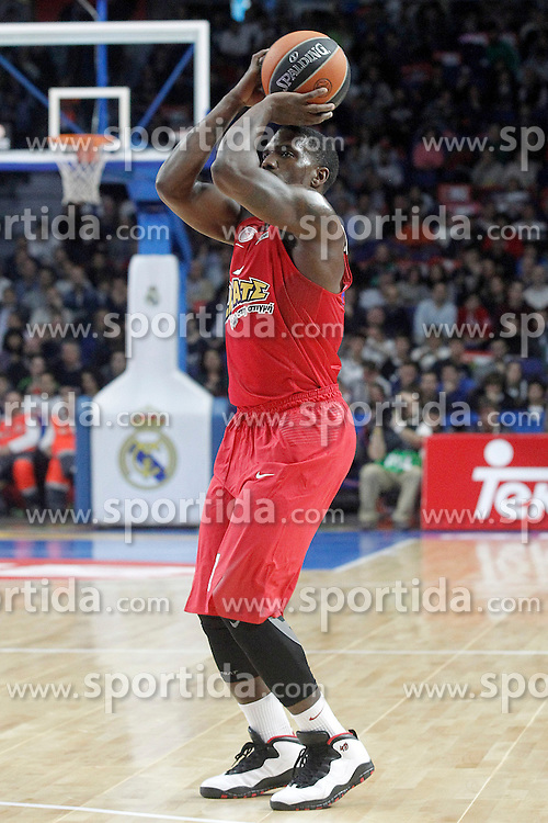 28.01.2016, Palacio de los Deportes, Madrid, ESP, FIBA, EL, Real Madrid vs Olympiacos PiraeusPlayoff, 5. Spiel, im Bild Olympimpiacos Piraeus' Darius Johnson-Odom // during the 5th Playoff match of the Turkish Airlines Basketball Euroleague between Real Madrid and Olympiacos Piraeus at the Palacio de los Deportes in Madrid, Spain on 2016/01/28. EXPA Pictures &copy; 2016, PhotoCredit: EXPA/ Alterphotos/ Acero<br /> <br /> *****ATTENTION - OUT of ESP, SUI*****
