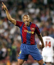 September 19, 2007 - ENGLAND - 070919 Fotboll, UEFA Champions Lague, Barcelona - Lyon: Thierry Henry, Barcelona, jubel..© BildbyrÅ'n - Cop 7.SWEDEN ONLY (Credit Image: © Scott Heavey/Bildbyran via ZUMA Press)